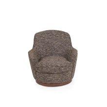 SU-1705-93-871885  Heathered Black Brown Soft Tweed Swivel Chair  Low Back  T Cushion