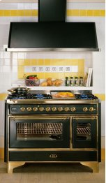 "Brass on Antique White 48"" Majestic Dual Fuel Range"