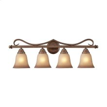 Lawrenceville 4-Light Vanity Lamp in Mocha with Antique Amber Glass