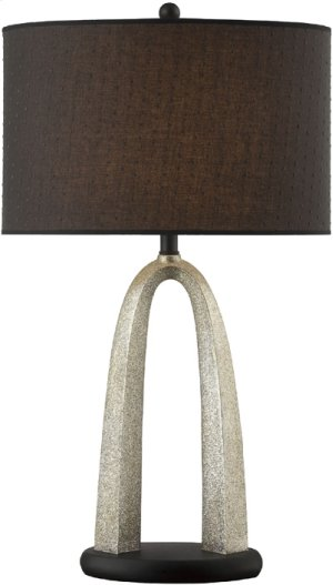 Table Lamp, Silver/black W/fabric Shade, E27 Type A 150w
