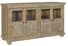 Bengal Manor Mango Wood 4 Carved Door and Beveled Glass Sideboard