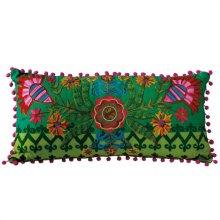 Green Embroidered Lotus Lumbar Pillow.