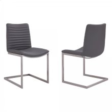 April Contemporary Dining Chair in Brushed Stainless Steel Finish and Grey Faux Leather - Set of 2