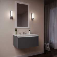 """Curated Cartesian 24"""" X 15"""" X 21"""" Single Drawer Vanity In Matte Gray Glass With Slow-close Plumbing Drawer, Night Light and Engineered Stone 25"""" Vanity Top In Quartz White (silestone White Storm)"""