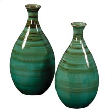 Teal w/ Green & Black Striped Glazed Ceramic Vases