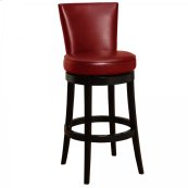 "Boston Swivel Barstool In Red Bonded Leather 26"" seat height"