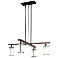 Cross Arm Chandelier - Round Glass - C450 Silicon Bronze Medium