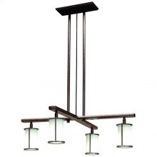 Cross Arm Chandelier - Round Glass - C450 Silicon Bronze Brushed