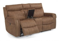 Wyatt Fabric Power Reclining Loveseat with Console Product Image
