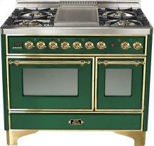 "Emerald Green 40"" French Top Majestic Techno Dual Fuel Range"