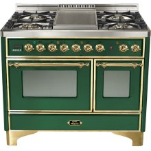 "Emerald Green 40"" French Top Majestic Techno Dual Fuel Range"