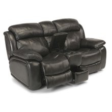 Como Leather Power Reclining Loveseat with Console