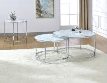 "Rayne Faux Marble Top Round End Table 24""x24""x24"""