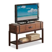 Latitudes Suitcase Console Table Aged Cognac finish