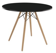 "Complete Table-round Black Top 40""&wood Legs-metal Struts Rta"