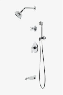 "Transit Pressure Balance Shower Package with 5"" Shower Rose, Handshower and Diverter Cross Handle STYLE: TRSP08"