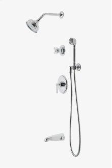 "Transit Pressure Balance Shower Package with 5"" Shower Rose, Handshower and Diverter Cross Handle STYLE: TRSP08"
