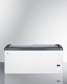 Curved Top Commercial Ice Cream Freezer Made In Denmark, With Sliding Glass Lid, Digital Thermostat, Novelty Baskets, and 14.8 CU.FT. Interior