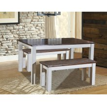 """5' Mill 1"""" Table w/Bench and Four Chairs 6 Pc. Set"""
