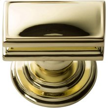 Campaign Rectangle Knob 1 1/2 Inch - Polished Brass