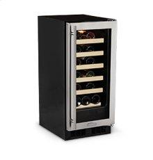 "15"" Standard Efficiency Single Zone Wine Cellar - Stainless Frame Glass Door - Left Hinge"