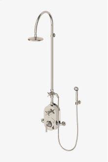 """Henry Exposed Thermostatic Shower System with 8"""" Shower Head, Handshower, Metal Cross Diverter Handle, Metal Lever and Cross Handle STYLE: HNXS60"""