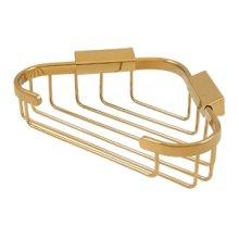 "Wire Basket, 8-3/4"" x 6-7/8"" Triangular Corner - PVD Polished Brass"