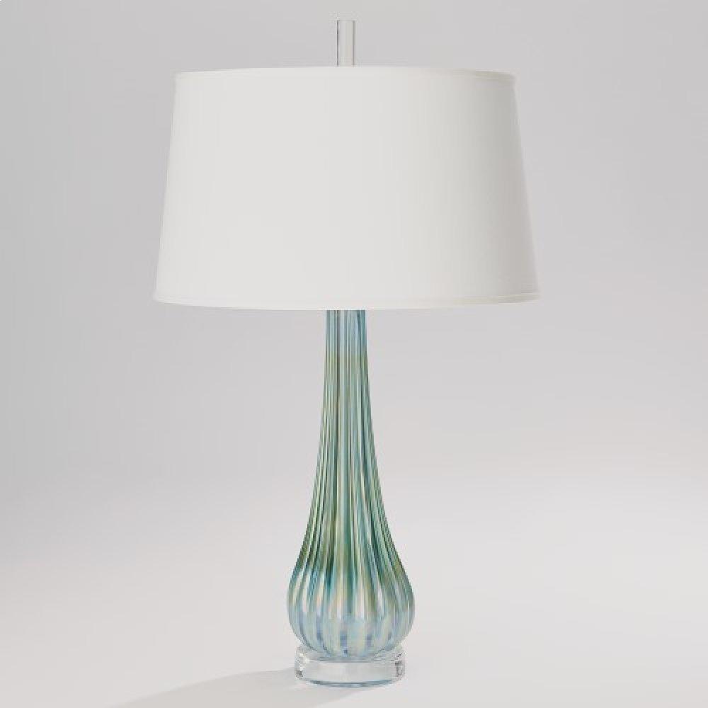 Irys Blue Ribbed Glass Lamp