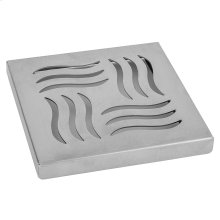 """Brushed Stainless - 6"""" x 6"""" Wave Channel Drain Grate"""