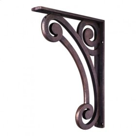 """1-1/2"""" X 10"""" X 13-1/2"""" Metal (Iron) Pierced Scrolled Bar Bracket. e Hardware Resources, Inc. Finish: Dark Brushed Antique Copper. Mounting Screws (#8x3/4"""") Included. Not for outdoor use."""