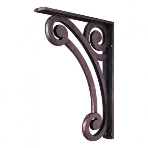 "1-1/2"" X 10"" X 13-1/2"" Metal (Iron) Pierced Scrolled Bar Bracket. e Hardware Resources, Inc. Finish: Dark Brushed Antique Copper. Mounting Screws (#8x3/4"") Included. Not for outdoor use."