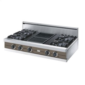 "Stone Gray 42"" Open Burner Rangetop - VGRT (42"" wide, four burners 12"" wide char-grill)"