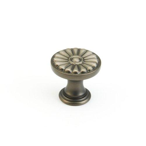 """Solid Brass, Montcalm, Round Knob, 1-3/8"""" diameter, Antique Nickel finish"""