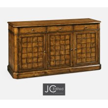 "64"" Country Walnut Three Door Sideboard"