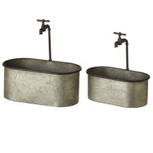 Galvanized Oval Planter with Faucet (2 pc. set)
