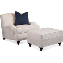 Crown Estate Slipcovered Chair and Ottoman