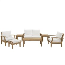 Marina 7 Piece Outdoor Patio Teak Set in Natural White