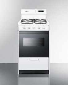 """Deluxe Gas Range In Slim 20"""" Width With Sealed Burners, Black Glass Oven Door, and White Porcelain Top; Replaces Wtm1307dfk"""