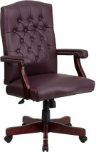 Martha Washington Burgundy Leather Executive Swivel Office Chair with Arms Product Image