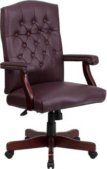 Martha Washington Burgundy Leather Executive Swivel Chair with Arms