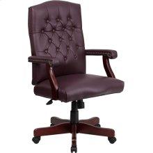 Martha Washington Burgundy Leather Executive Swivel Office Chair with Arms