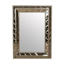 Rectangular Mirror of Beveled Diamond Cut Mirror Glass, Silver Metal Leaf Wood Trim