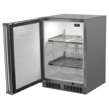 "24"" Outdoor Refrigerator - Marvel Refrigeration - Solid Stainless Steel Door with Lock - Left Hinge"