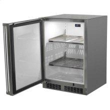 "24"" Outdoor Refrigerator - Marvel Refrigeration - Solid Stainless Steel Door with Lock - Left Hinge"