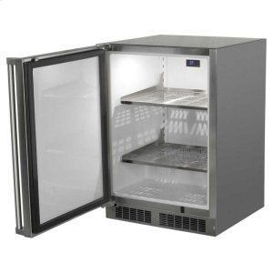 "Marvel24"" Outdoor Refrigerator - Marvel Refrigeration - Solid Stainless Steel Door with Lock - Left Hinge"