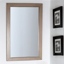Wall-mount mirror in metal or wooden frame.