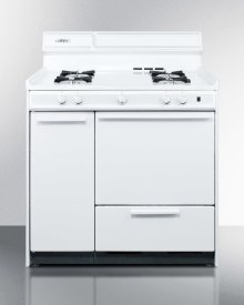 "White Gas Range With Electronic Ignition In 36"" Width"