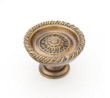 "Solid Brass, Symphony, Sunflower, Round Knob, 1-3/4"" diameter, Estate Dover finish"