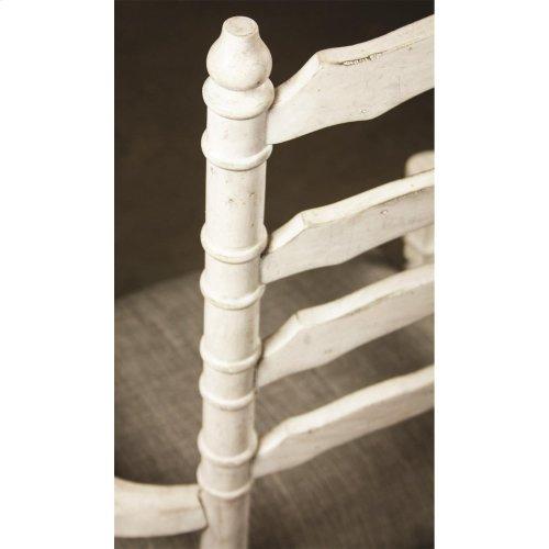 Elizabeth - Upholstered Ladderback Arm Chair - Smokey White Finish