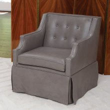 Skirted Leather Chair-Dove Grey